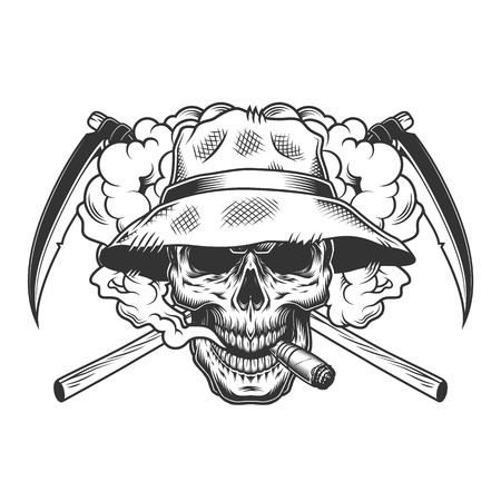 Vintage monochrome skull wearing panama hat in smoke cloud with crossed reaper scythes isolated vector illustration Иллюстрация