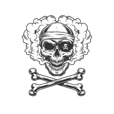 Vintage monochrome pirate skull in eye patch and bandana with crossbones isolated vector illustration