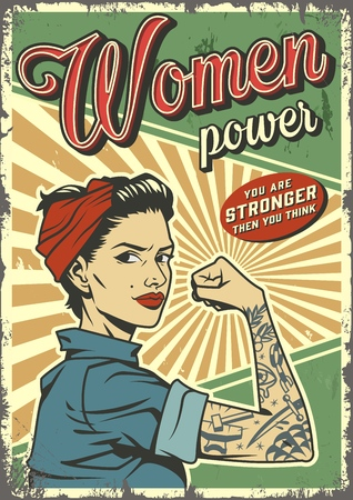 Vintage woman power colorful poster with pin up strong pretty girl with tattoo on arm vector illustration