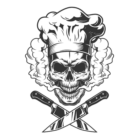Chef skull in smoke cloud with crossed knives in vintage monochrome style isolated vector illustration