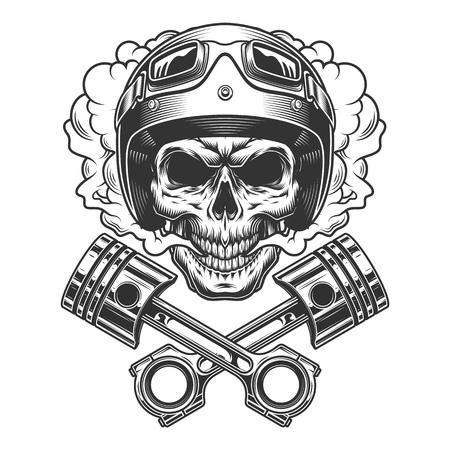 Cráneo de moto racer en nube de humo con pistones de motor cruzados en estilo monocromo vintage aislado ilustración vectorial