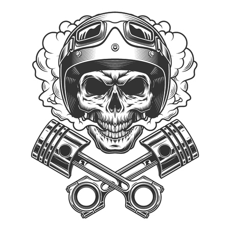 Moto racer skull in smoke cloud with crossed engine pistons in vintage monochrome style isolated vector illustration