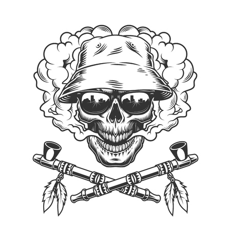 Skull in panama hat and sunglasses and crossed native american smoking pipes in vintage monochrome style isolated vector illustration 向量圖像