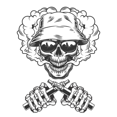 Vintage monochrome skull in panama hat in smoke cloud and skeleton hands holding vaporizers isolated vector illustration Illustration