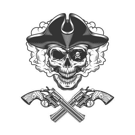 Vintage pirate skull with eye patch in smoke cloud with crossed pistols isolated vector illustration 일러스트
