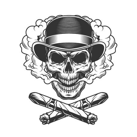 Crâne de gentleman vintage en chapeau fedora avec illustration vectorielle de cigares cubains croisés isolés Vecteurs