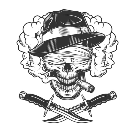 Vintage monochrome gangster skull smoking cigar with blindfold and crossed knives in smoke cloud isolated vector illustration Illustration