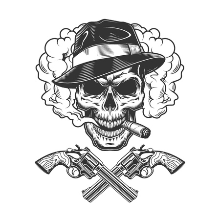 Gangster skull wearing fedora hat in smoke cloud with crossed pistols in vintage monochrome style isolated vector illustration