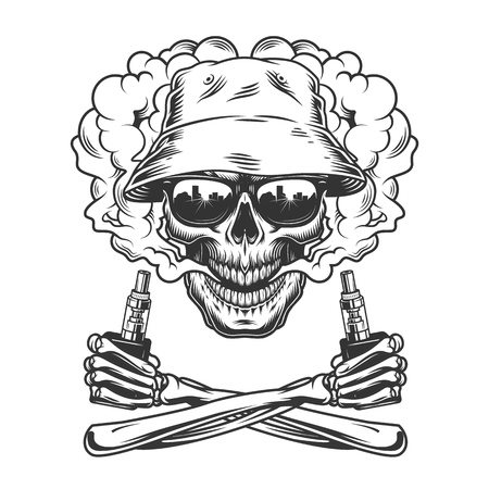 Vintage monochrome vaping concept with skull wearing panama hat in smoke cloud and crossed skeleton hands holding electronic cigarettes isolated vector illustration