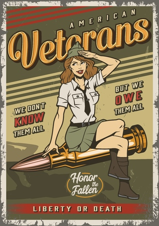 Vintage colorful military template with pin up attractive soldier girl sitting on bullet vector illustration