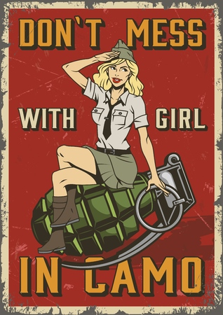 Retro military colorful poster with pin up saluting soldier blonde woman sitting on grenade in vintage style vector illustration
