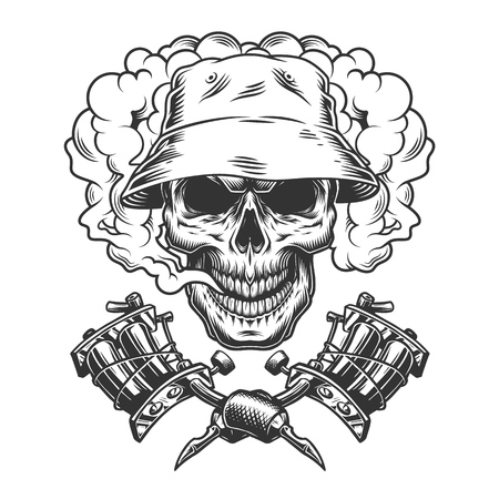 Vintage skull in panama hat in smoke cloud with crossed tattoo machines isolated vector illustration 写真素材 - 116383913