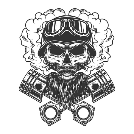 Bearded and mustached biker skull in smoke cloud with crossed engine pistons in vintage monochrome style isolated vector illustration Illustration