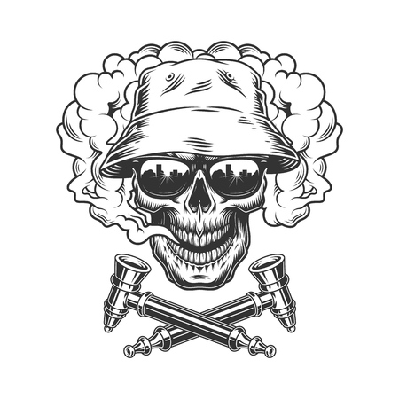 Skull wearing panama hat and sunglasses in smoke cloud with crossed smoking pipes in vintage monochrome style isolated vector illustration