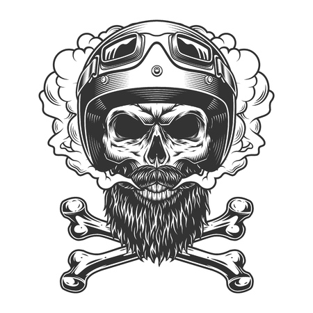 Vintage monochrome motorcyclist skull with beard mustache and crossbones in smoke cloud isolated vector illustration Illustration