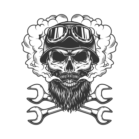 Skull wearing biker helmet and goggles in smoke cloud with crossed wrenches in vintage monochrome style isolated vector illustration