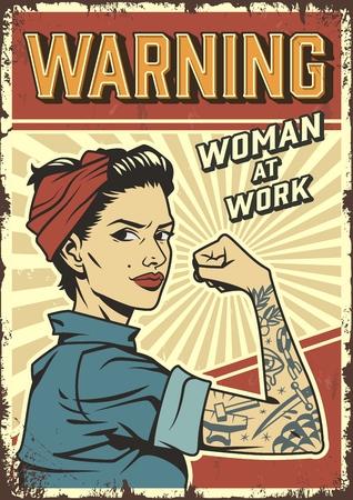 Poster retrò colorato di potere femminile con pin up forte ragazza attraente che indossa bandana e uniforme da meccanico in illustrazione vettoriale stile vintage Vettoriali