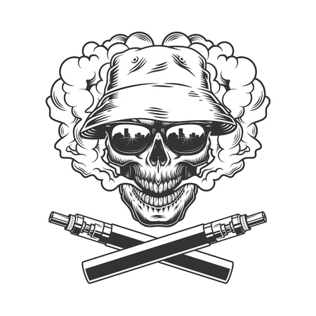 Skull wearing panama hat and sunglasses in smoke cloud with crossed vaporizers in vintage monochrome style isolated vector illustration