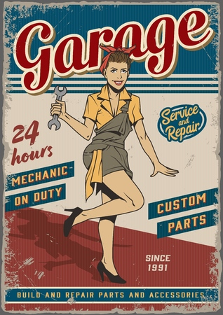 Retro garage repair service vintage poster with pin up pretty girl in mechanic uniform holding wrench vector illustration