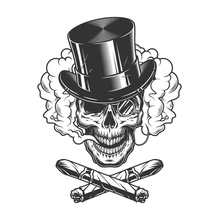 Gentleman skull wearing cylinder hat with rimless eyeglass and crossed cuban cigars in smoke cloud in vintage monochrome style isolated vector illustration
