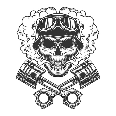 Vintage monochrome biker skull with crossed engine pistons in smoke cloud isolated vector illustration