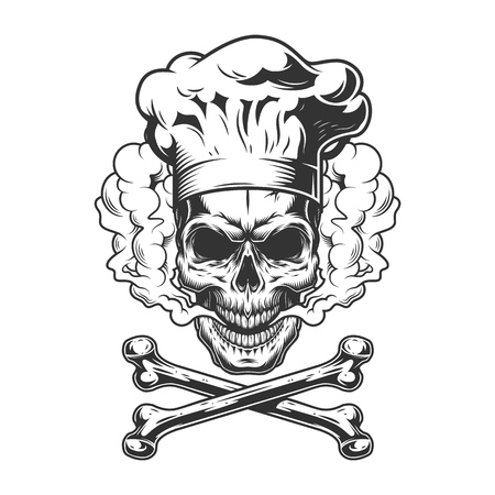Vintage monochrome skull wearing chef hat in smoke cloud with crossbones isolated vector illustration Illustration