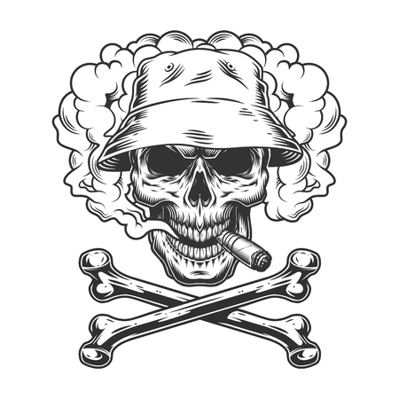 Skull in panama hat smoking cigar in smoke cloud with crossbones in vintage monochrome style isolated vector illustration