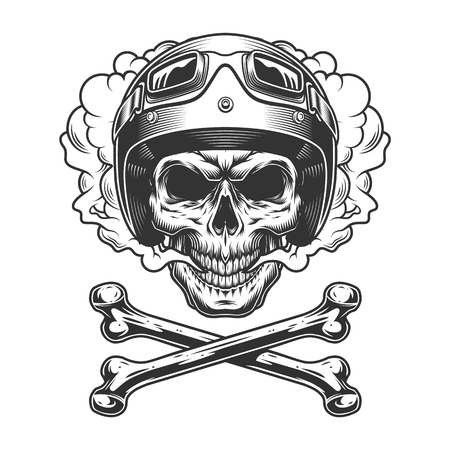Vintage motorcyclist skull in smoke cloud with crossbones in monochrome style isolated vector illustration