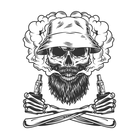 Bearded and mustached skull wearing panama hat in smoke cloud with crossed skeleton hands holding vaporizers in vintage style isolated vector illustration