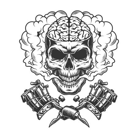 Cráneo monocromático vintage con cerebro humano en nube de humo con máquinas de tatuaje cruzadas ilustración vectorial aislada