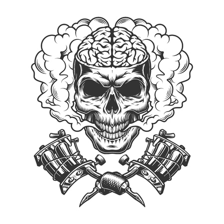 Vintage monochrome skull with human brain in smoke cloud with crossed tattoo machines isolated vector illustration