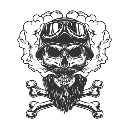 Bearded and mustached biker skull in smoke cloud with crossbones in vintage monochrome style isolated vector illustration