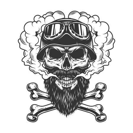 Crâne de motard barbu et moustachu dans un nuage de fumée avec des os croisés en illustration vectorielle isolée de style monochrome vintage Vecteurs