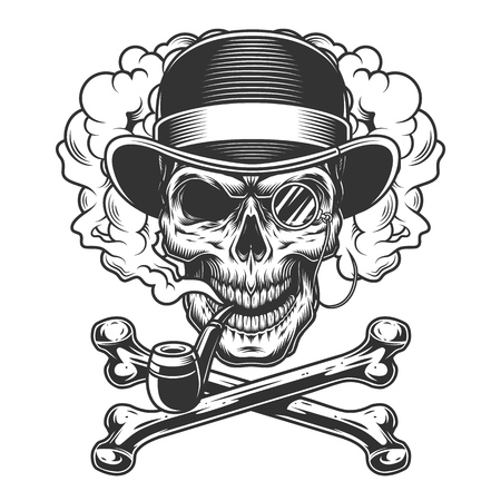 Vintage monochrome skull in fedora hat with rimless eyeglass and crossbones in smoke cloud isolated vector illustration