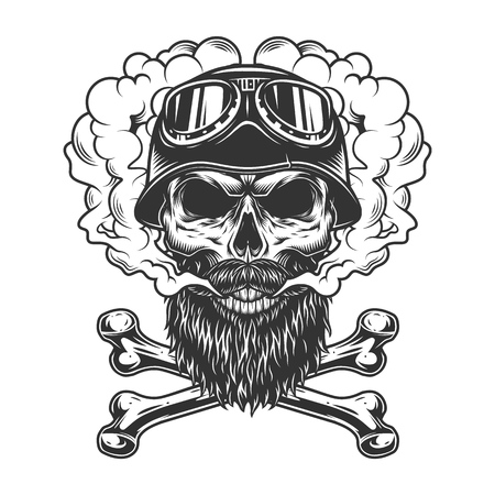 Monochrome biker skull in smoke cloud with crossbones in vintage style isolated vector illustration