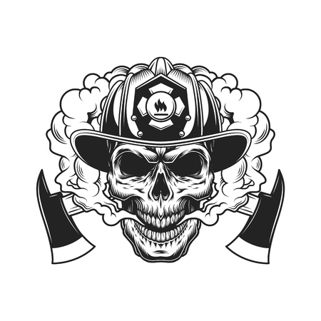 Firefighter skull and crossed axes in smoke cloud in vintage monochrome style isolated vector illustration Stock Illustratie