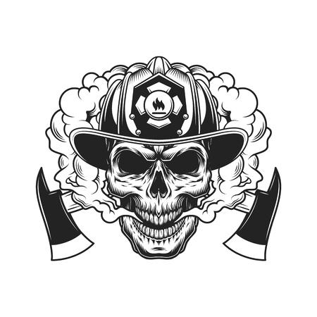 Il cranio del pompiere e gli assi incrociati nella nuvola di fumo in stile monocromatico vintage hanno isolato l'illustrazione vettoriale Vettoriali