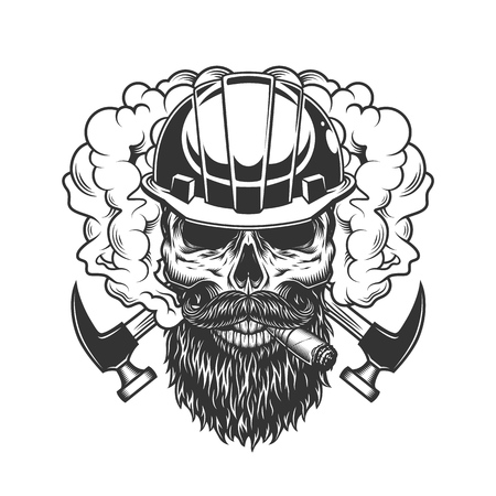 Vintage monochrome builder skull in smoke with beard mustache and crossed axes isolated vector illustration