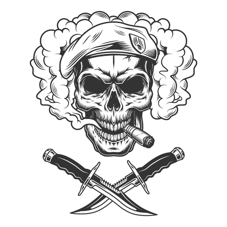 Vintage skull in navy seal beret smoking cigar in smoke cloud with crossed knives isolated vector illustration