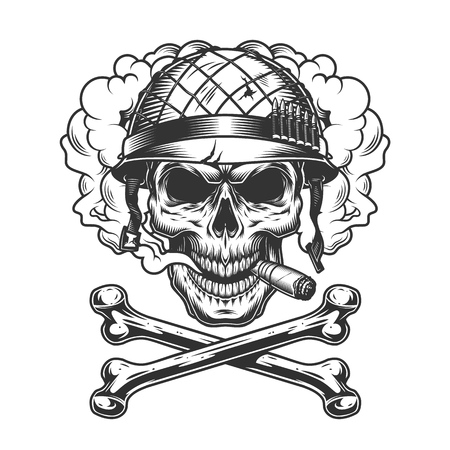 Vintage monochrome skull wearing soldier helmet in smoke cloud with crossbones isolated vector illustration Illustration