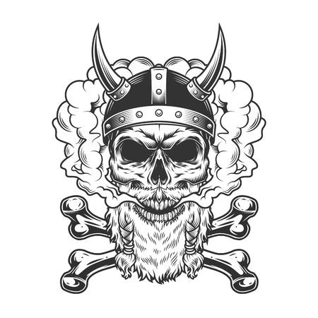 Bearded and mustached viking skull and crossbones in smoke cloud in vintage monochrome style isolated vector illustration