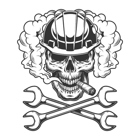 Builder skull smoking cigar in smoke cloud with crossed wrenches in vintage monochrome style isolated vector illustration Illustration