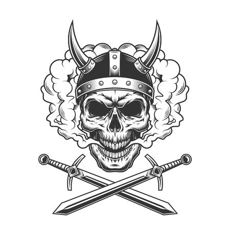 Viking skull in smoke cloud with crossed swords in vintage monochrome style isolated vector illustration