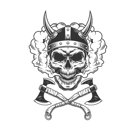 Viking skull wearing horned helmet in smoke cloud with crossed axes in vintage monochrome style isolated vector illustration Vectores