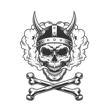 Vintage viking skull wearing horned helmet in smoke cloud with crossbones isolated vector illustration