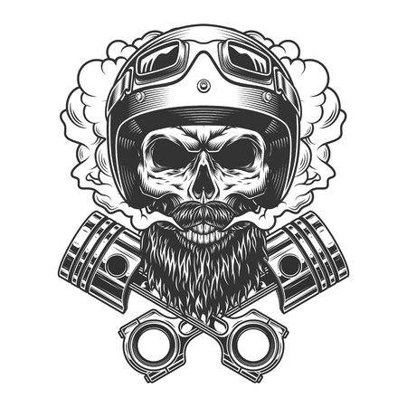 Bearded and mustached motorcyclist skull and crossed engine pistons in smoke cloud in vintage monochrome style isolated vector illustration Illustration