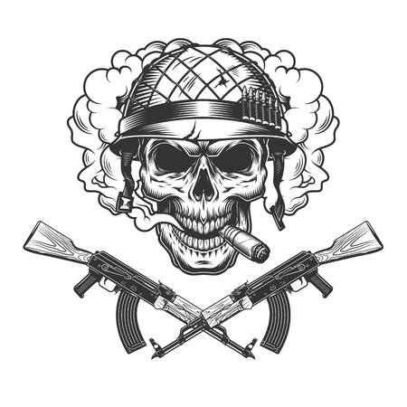 Crâne dans un casque de soldat fumant un cigare dans un nuage de fumée avec des mitrailleuses croisées en illustration vectorielle isolée de style monochrome vintage