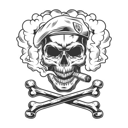 Crâne de phoque de la marine portant un béret et un cigare fumant dans un nuage de fumée avec des os croisés en illustration vectorielle isolée de style monochrome vintage
