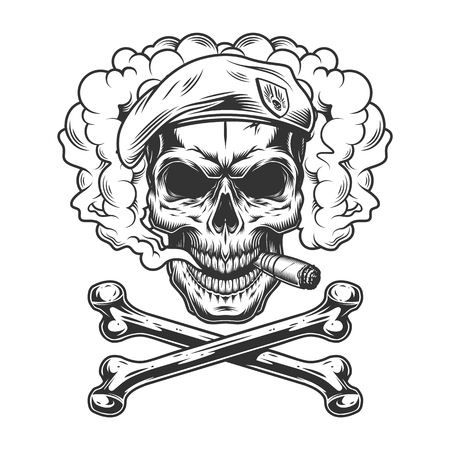 Navy seal skull wearing beret and smoking cigar in smoke cloud with crossbones in vintage monochrome style isolated vector illustration