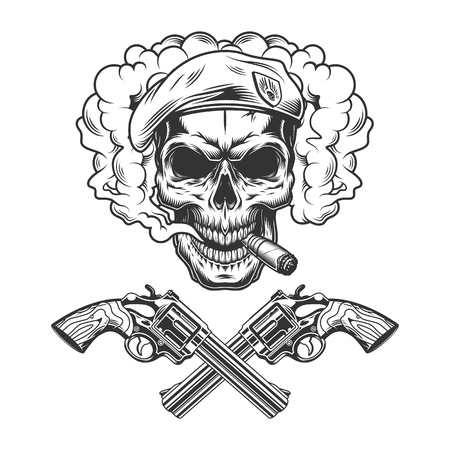 Vintage monochrome soldier skull wearing beret in smoke cloud with crossed pistols isolated vector illustration
